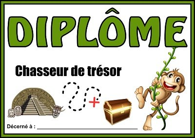 diplome chasse tresor jungle