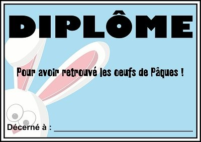 diplome chasse tresor paques