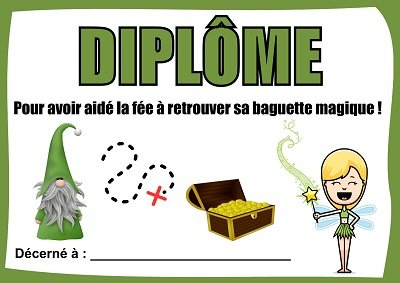 diplome chasse tresor fée