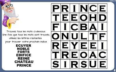 indice chasse tresor prince princesse