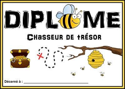 diplome chasse au trésor abeille